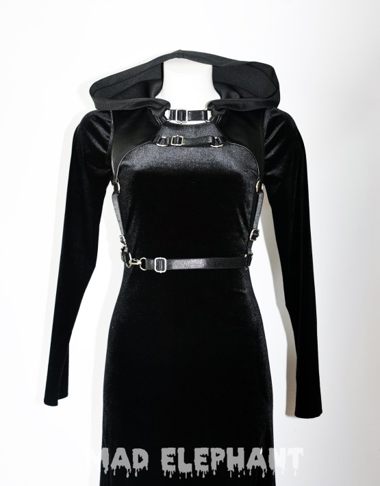 black hooded witch dress