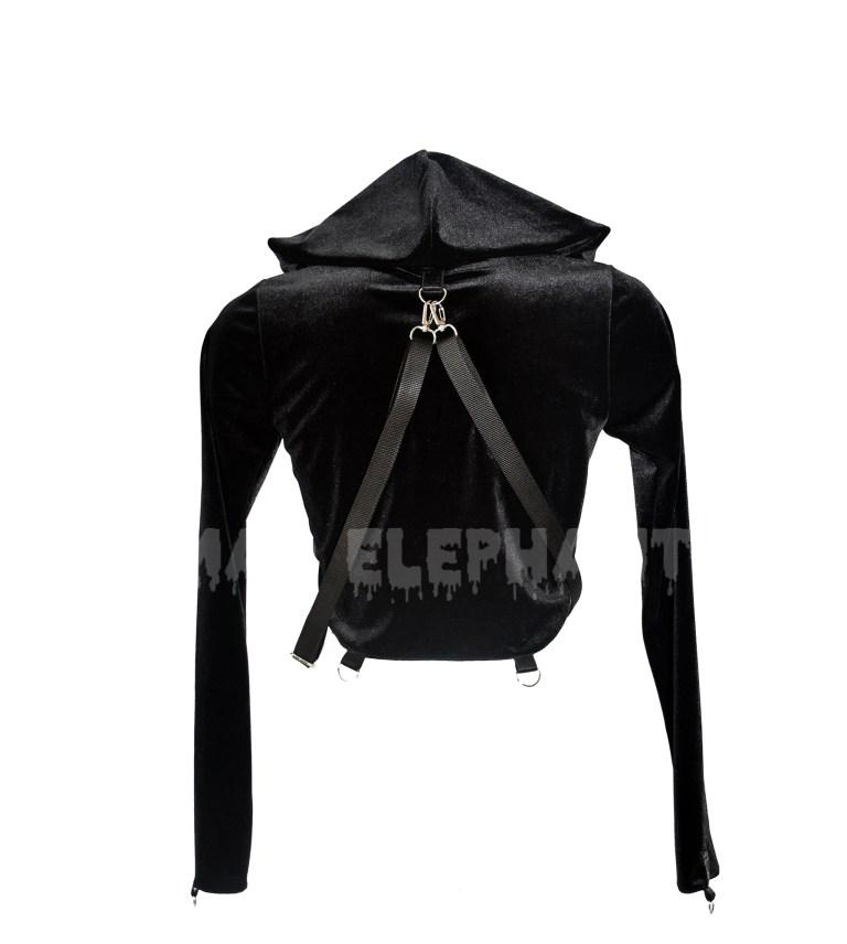 crop top hoodie black