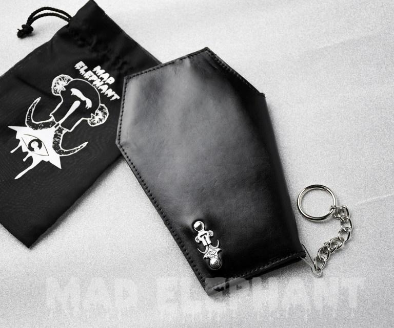 black coffin shaped wallet