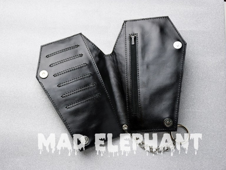leather gothic coffin wallet