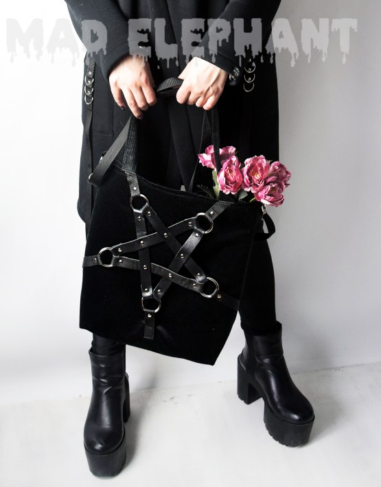 gothic zipped tote bag
