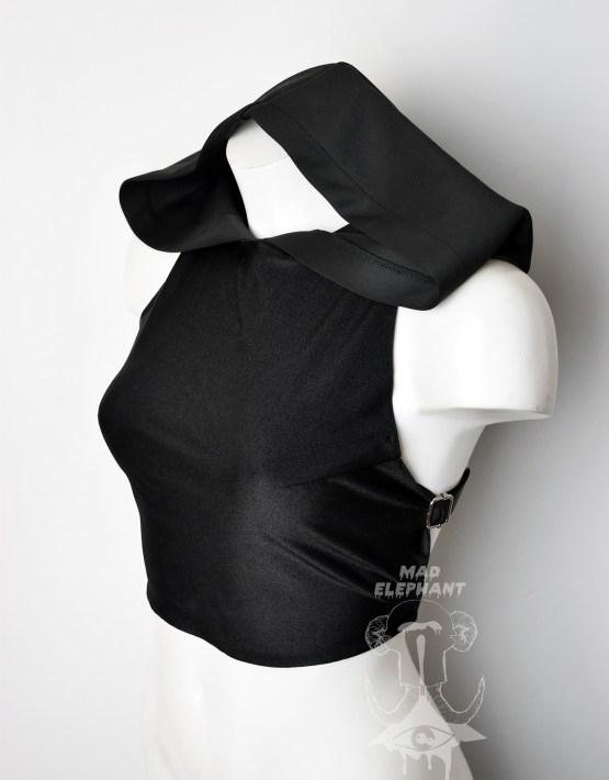 black hooded crop top