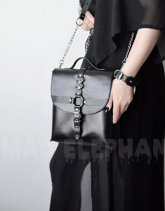 gothic leather bag with chains