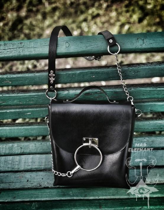 gothic o ring crossbody bag