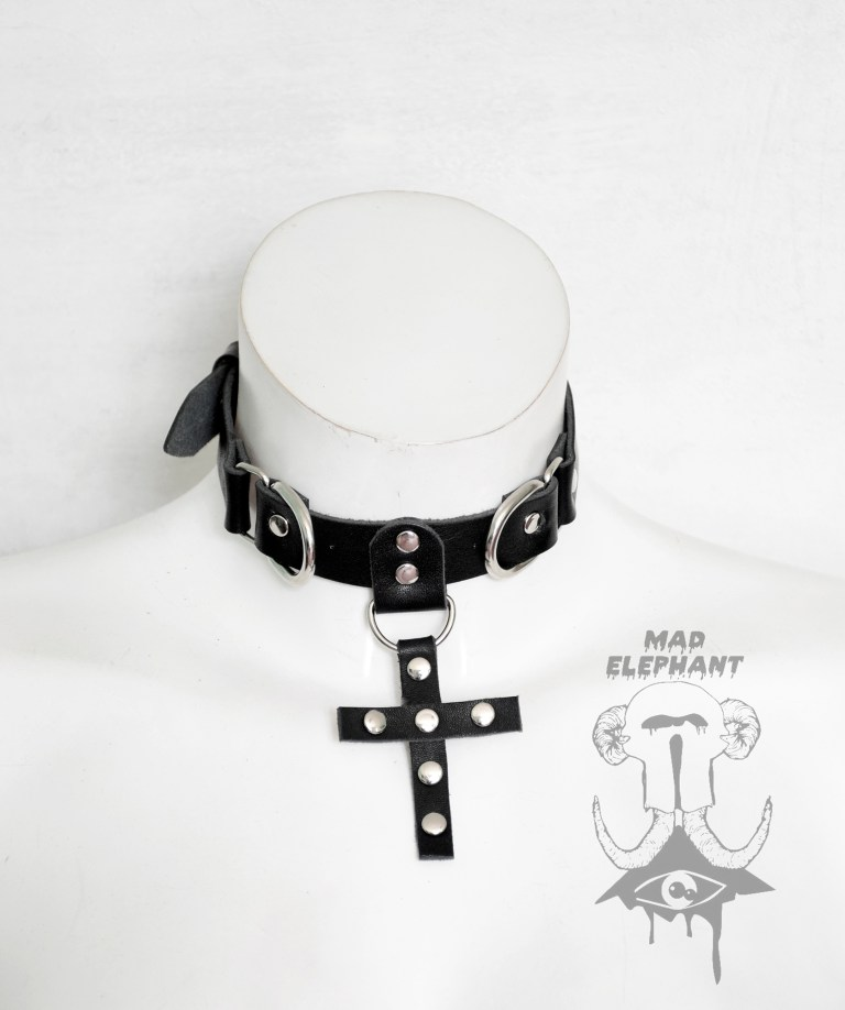 leather cross choker
