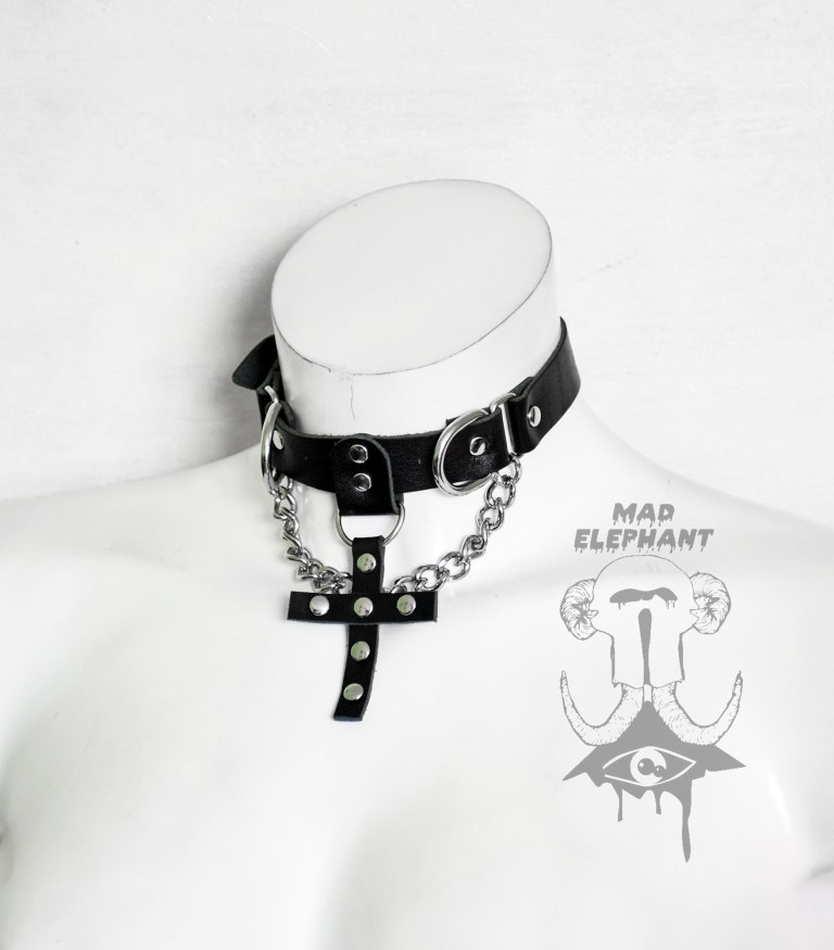 leather cross choker with chain