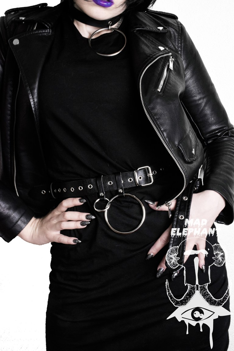 punk o ring belt black