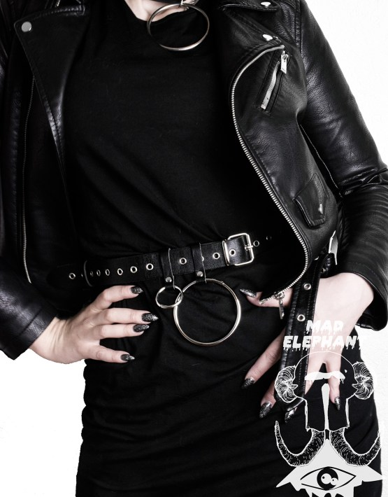 punk o ring belt black