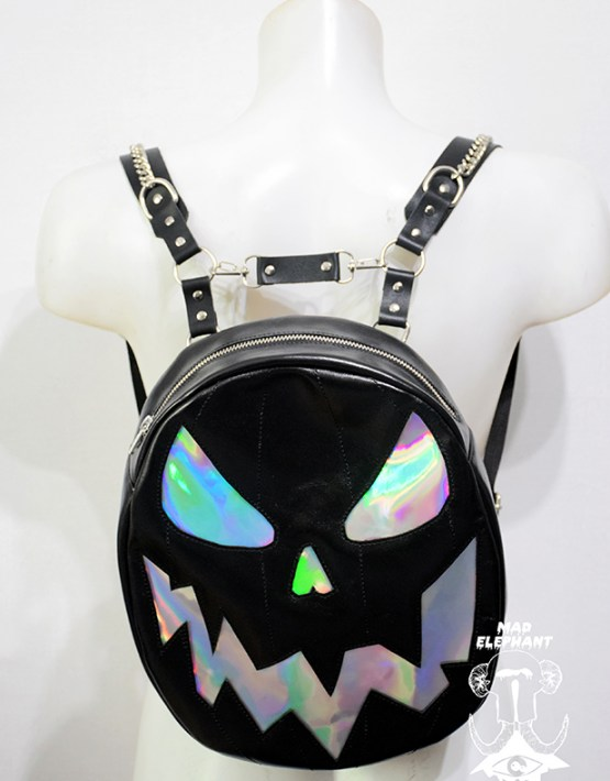 leather holographic pumpkin backpack