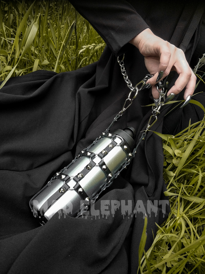 Leather spiked harness bottle holder