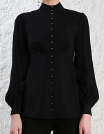 black high collar blouse