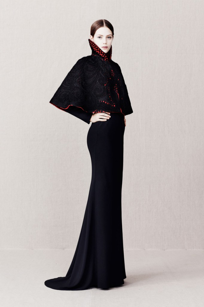 I was wearing my Alexander McQueen long sleeved caped dress... Image source: Alexander McQueen