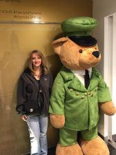 Mom and giant teddy bear