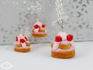 Bijoux gourmands fimo - Collier et Boucles d'oreille Saint Honoré framboise