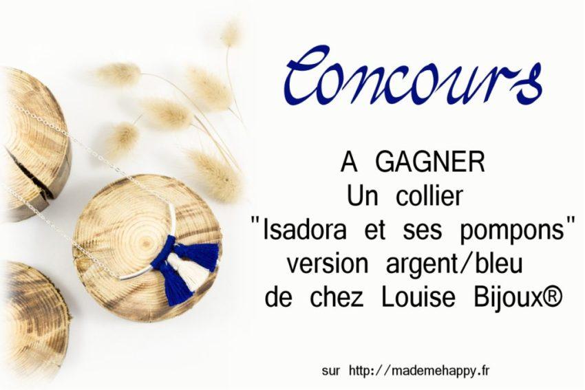 """Concours - Gagner un collier """"Isadora et ses pompons"""" version argent/bleu de chez Louise Bijoux."""