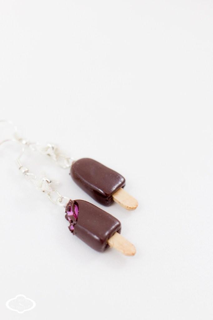 Bijoux gourmands fimo - Boucles d'oreilles glace esquimau fraise-6