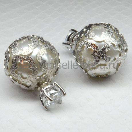 """Серебряные серьги с """"жемчужиной"""" внутри и кристаллом Royal Crystal Silver Fleur"""