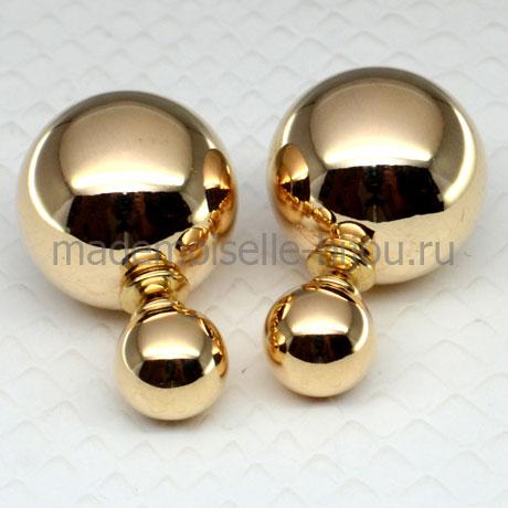 Серьги два золотых шарика Fashion Golden Lux