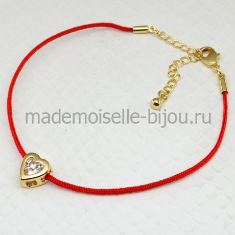 Браслет красная нить желаний с цирконом с сердечком