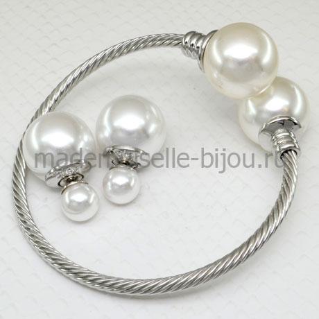 Комплект браслет и серьги с жемчужными шариками La Perla Lux Silver