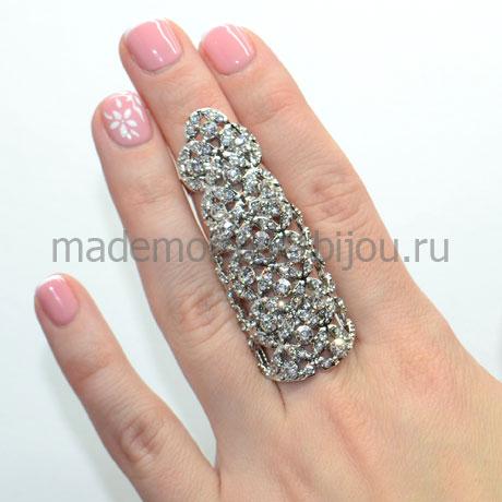 Кольцо на весь палец с цирконами Silver Ivy