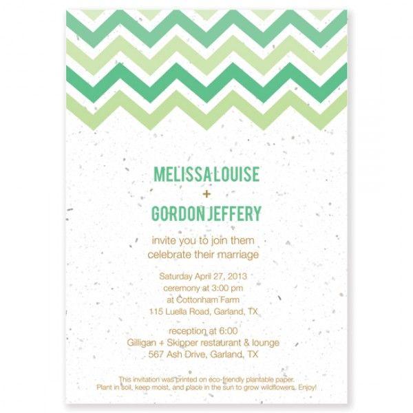 Einladung Hochzeit Chevron-Streifen Gruen
