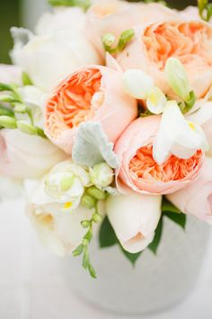 Englische Rosen Tischdeko Hochzeit Elegant lachs blush Inspiration