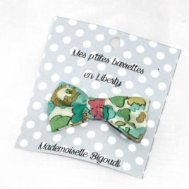 Mes petites barrettes de Mademoiselle Bigoudi/ pince crocodile Liberty Betsy tuquoise