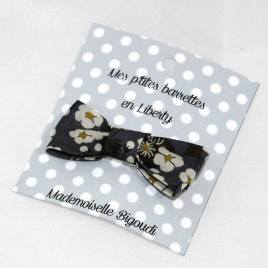 Mes petites barrettes de Mademoiselle Bigoudi/ pince crocodile Liberty Mitsy gris