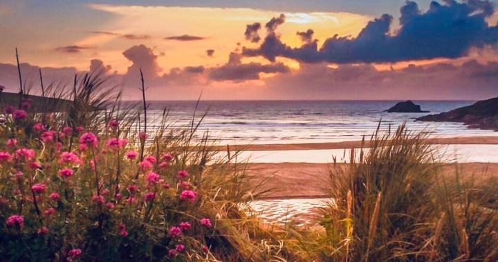 Cornovaglia: Newquay tramonto in spiaggia