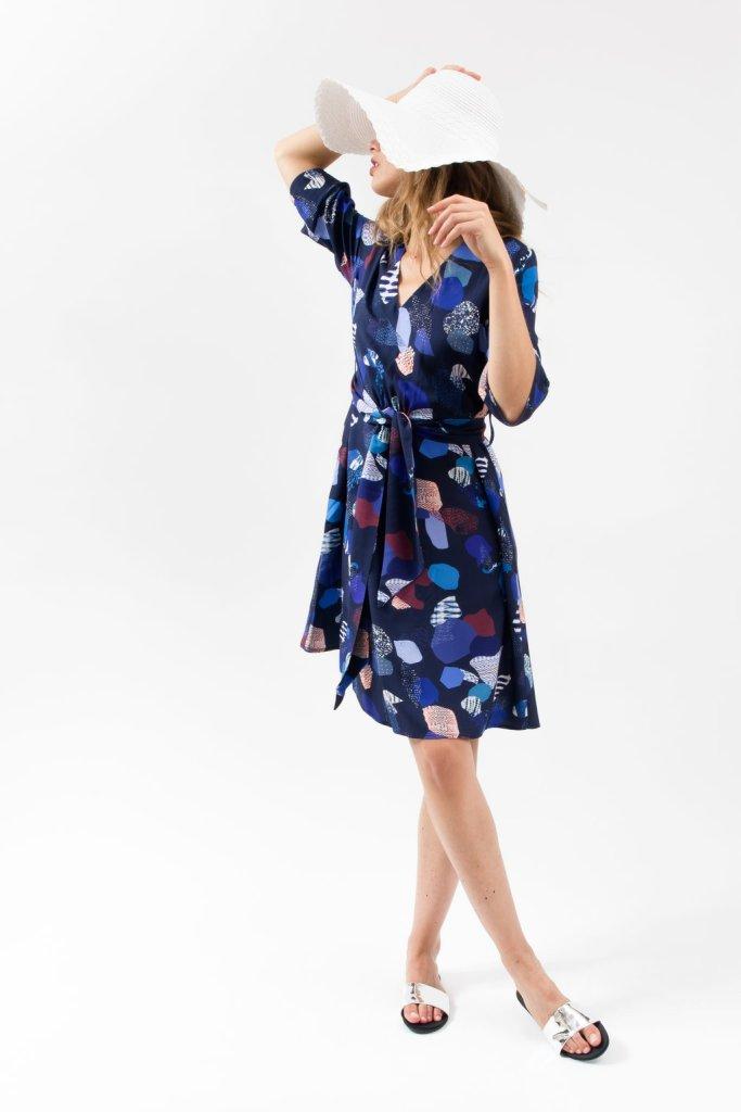 Robe cocktail éco-responsable. Bleu Tango créatrice française. Mademoiselle Coccinelle blog mode éthique