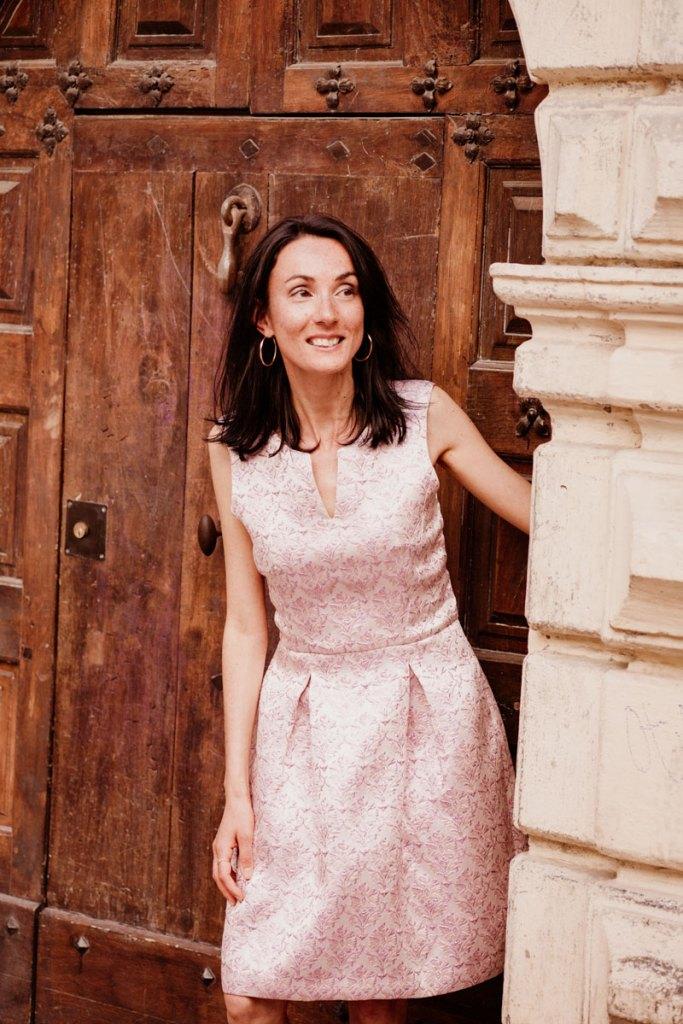 Robe de cérémonie made in France Danielle Engel, marque de mode éthique à Montpellier, présentée par Mademoiselle Coccinelle, blogueuse mode responsable