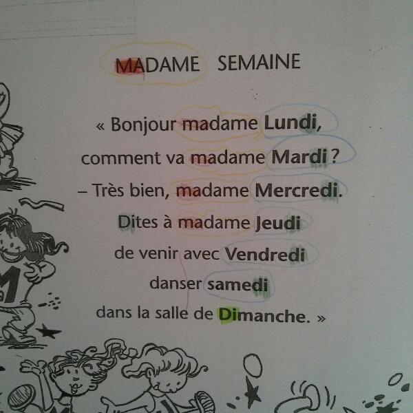 poésie madame semaine