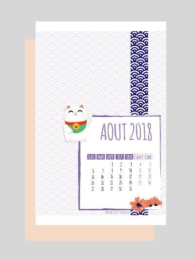 calendrier août 2018