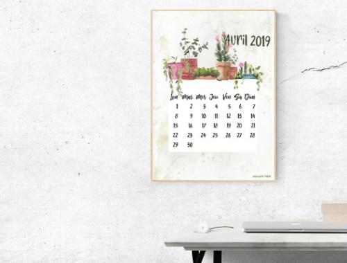 calendrier d'avril 2019 à télécharger