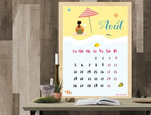 calendrier d'août 2019 à télécharger