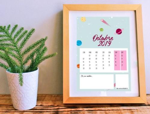 calendrier d'octobre 2019 à télécharger