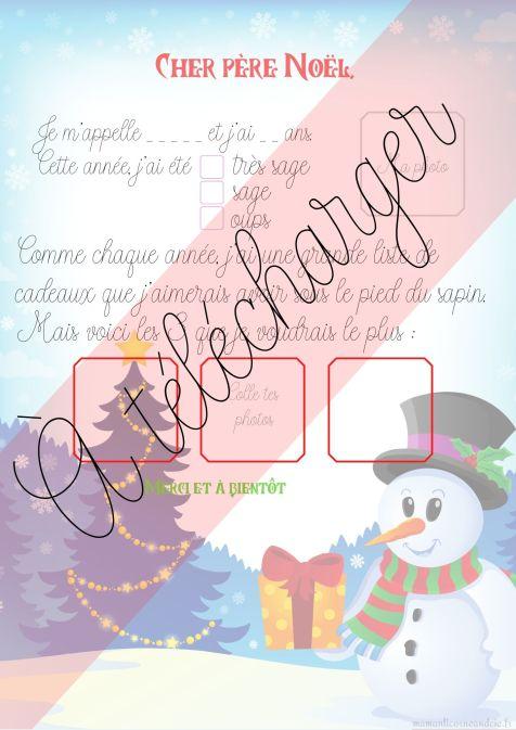 Lettre de Noël, modèle bonhomme de neige