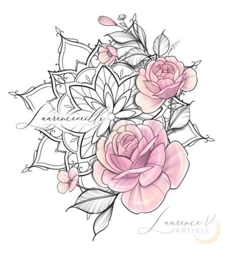 Idées tatouage cuisse femme dessin roses