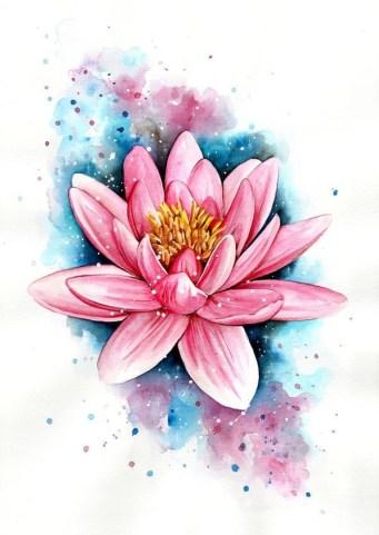 Idées tatouage cuisse femme fleur rose et bleue