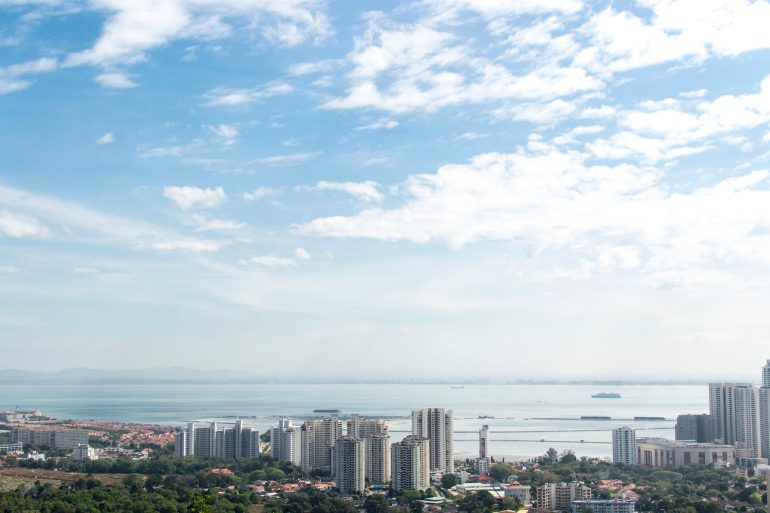 Distant view of Penang and the sea