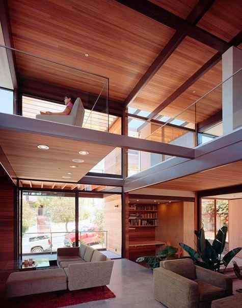 fotos de techos de madera en casa de dos pisos