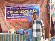 Here is Dr. Rao bringing greetings to the children at our second Center.