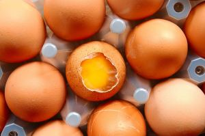 Tray of eggs with one broken egg visible