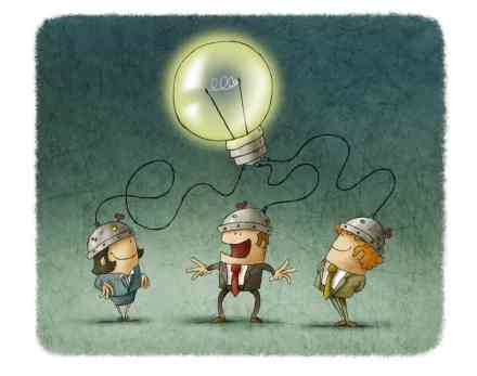 Three people with brains connected to a large illuminated bulb - metaphor for engagement