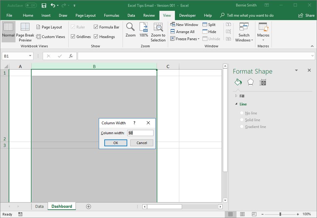 Setting a column width