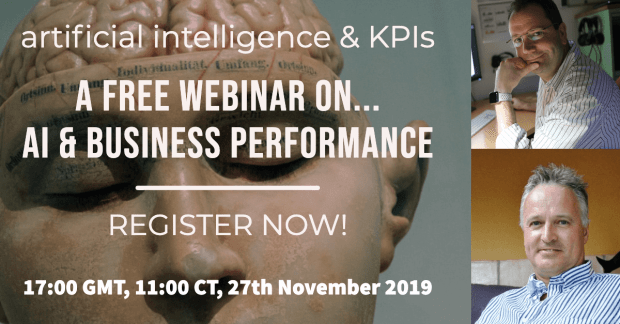 advert for a free webinar on artificial intelligence and KPIs
