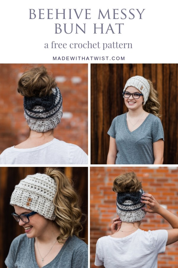 Four different views of the beehive messy bun hat