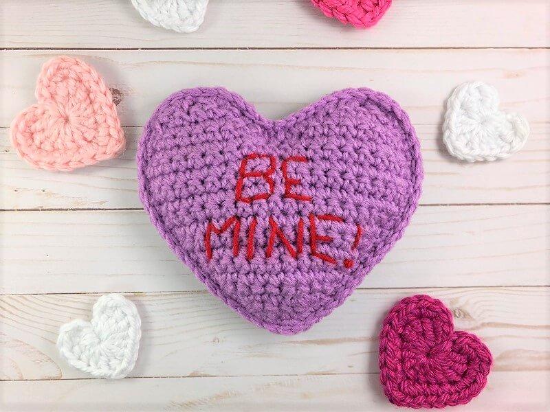 Purple Conversation Heart Free Crochet Pattern