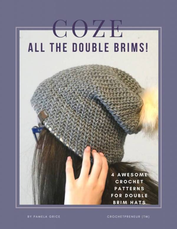 """The COZE e-book containing all 4 patterns in the """"All the Double Brims"""" series from Made with a Twist by Crochetpreneur! Get all 4 patterns for a super all-time-low price. #doublebrimhat #crochetpattern #patternbook #crochetebook #crochetdoublebrim #doublebrimcrochet"""
